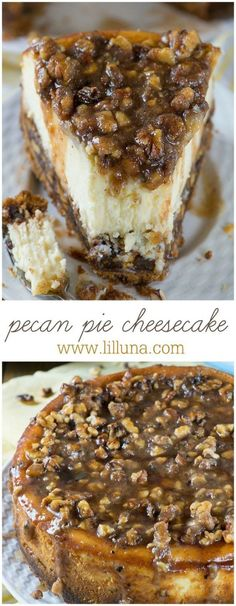 Pecan Pie Cheesecake Thanksgiving Dessert Recipe | lil' luna - The BEST Classic, Improved and Traditional Thanksgiving Dinner Menu Favorites Recipes - Main Dishes, Side Dishes, Appetizers, Salads, Yummy Desserts and more!
