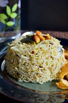 Dinner ideas: Vangi bath-eggplant rice with fresh spice blend:  Recipe @ http://cookclickndevour.com/vangi-bath-recipe  #cookclickndevour #vegan #rice #recipeoftheday