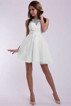 White Studded Draped Short Dress by YNS.
