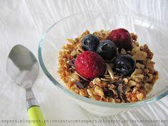 Granola de frutos secos e chocolate