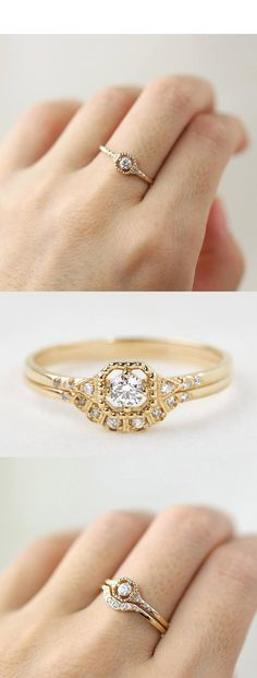 DIAMOND ENGAGEMENT RING SET, 14K GOLD, ROSE GOLD, WHITE GOLD, 18K, PLATINUM OPTION, DIAMOND WEDDING