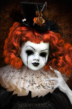 "Symphony of Death by MSKYCarmen at Deviant Art ""This is Sad, Scary, Creepy… Halloween Doll, Scary Halloween, Halloween Crafts, Halloween Stuff, Scary Baby Dolls, Creepy Dolls, Creepy Doll Makeup, Doll Crafts, Diy Doll"