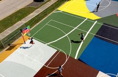 Abstract painter William LaChance designs St Louis basketball court for Project Backboard