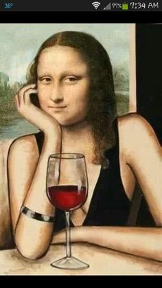 Mona with wine