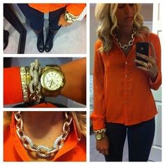 Love this necklace, bracelets, boots, shirt....tennesseantraditions: I will never not reblog girls in Tennessee orange
