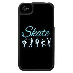 figure skating phone case_ aqua_black