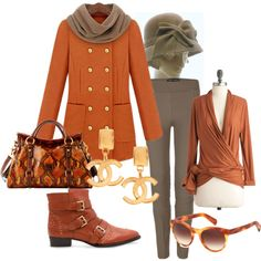 """orange and grey"" by jrlk on Polyvore"