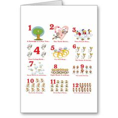 The 12 twelve days of christmas complete greeting card