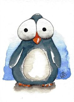 - Wasserfarben kunst - Animal world Watercolor Animals, Watercolor Cards, Watercolor Paintings, Penguin Watercolor, Watercolour, Pinguin Illustration, Watercolor Illustration, Animal Drawings, Cute Drawings