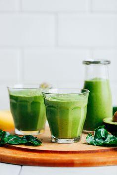 CREAMY Avocado Green Smoothie! 5 ingredients, GREEN, SO healthy   satisfying #vegan #banana #plantbased #smoothie #greensmoothie #avocado #glutenfree #minimalistbaker