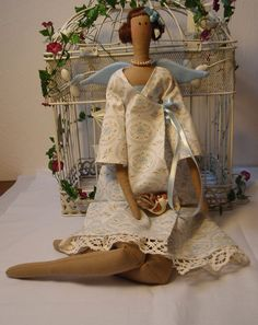 Tilda Doll Angel with Bird Ange à l'Oiseau by lallehandmade