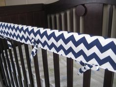 Crib Teething Rail Padded Front Cover with Fabric Ties 51 inches - Made in fabric of your choice