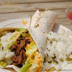 Slow Cooker Barbacoa with cilantro lime rice. No need for takeout! #copycat #chipotle