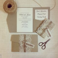 30 x Rustic Wedding Invitations rustic lace, twine and tag
