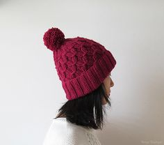 SALE Ready to Ship  Hand Knitted Hat in Ruby  by naryaboutique