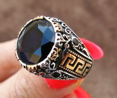 MEN RING 925 STERLING SILVER BLACK AGATE ONYX NATURAL STONE TURKISH OTTOMAN #31