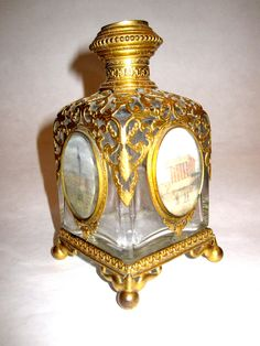 Palais Royal 19th Century glass scent bottle with 5 miniature panels of Paris.