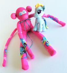 Sock Monkey-Rainbow Dash-My Little Pony-Themed-Handmade-Monkey-Pink, Blue, Yellow, Stars-Plush-Plushie, Stuffed, Stuffed…