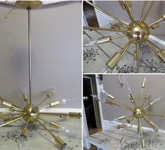 This stunning sputnik style brass chandelier is looking for the perfect new home. This came directly from my grandmother estate, then hung