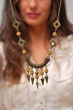 Boho necklace, Spike necklace, Rustic golden beads necklace, Gypsy spike necklace, Hippie bronze necklace. Christmas gift idea.