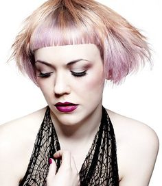 LOVE THIS COLOR!!!!!   A short blonde straight coloured multi-tonal defined-fringe hairstyle by Gooseberry