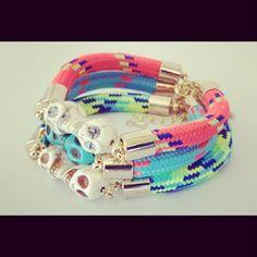 Neon Cord Skull Friendship Bracelet. In Neon Pink, Green or Blue. - $29.00