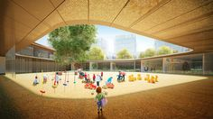 Architectural visualization of an elementary school on Behance
