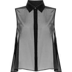 McQ Alexander McQueen Sheer Trapeze Tank (320 CAD) ❤ liked on Polyvore featuring tops, black, sheer black tank, sleeveless tank, black tank top, black sheer top and black top