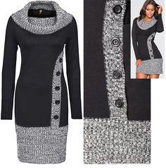 Dress with imitation fasteners - Knitting Crochet Shirt, Knit Crochet, Knit Patterns, Dress Patterns, Knitting Stitches, Knitting Machine, Warm Outfits, Knit Fashion, Crochet Clothes