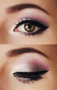 pink eye shadow and winged eyeliner