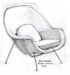 furniture sketch an open [sketch]book: goldilocks and the designer chairs Drawing Furniture, Chair Drawing, Furniture Sketches, Interior Design Sketches, Industrial Design Sketch, Interior Rendering, Chair Design, Furniture Design, Modern Furniture