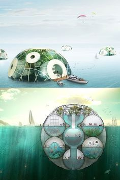 Futuristic architecture: ocean sphere settlements with underwater compartments and a greenhouse along the top.