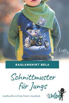 Nähen für Jungs – das Raglanshirt Bela ist super für den Herbst und den Winter. Das Besondere: die Teilung und die optionale Bauchtasche als einfaches kostenloses Add-On. Mein Lausbub – Schnittmuster für Jungs Raglan, Sweatshirts, Sweaters, Winter, Fashion, Fanny Pack, Tops, Sewing Patterns, Jackets
