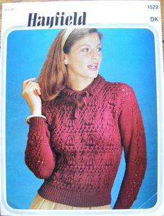 Vintage Hayfield Stunning Tie-Neck Sweater DK Knitting Pattern - 34-38 inches