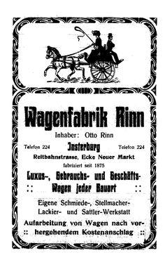 reklame aus Adressbuch für Insterburg mit Abbauten 1914