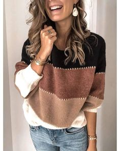 Fashion Patchwork O-neck Warm Knitted Sweaters – ebuytrends Casual Sweaters, Pullover Sweaters, Sweaters For Women, Loose Sweater, Long Sleeve Sweater, Diy Laine, Casual Maternity, Sweater Fashion, Types Of Sleeves