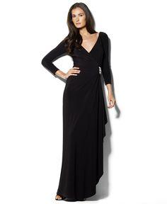 Lauren by Ralph Lauren Dress, Three Quarter Sleeve V-Neck Gown - Dresses - Women - Macy's