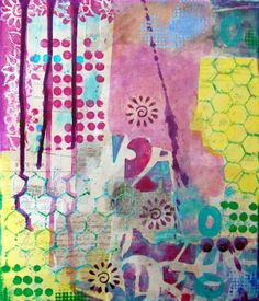 Another fabulous collage by Cath Sheard - this one with Gelli printed tissue paper!