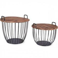 Rustic Wood Top Drum Table, Set of 2