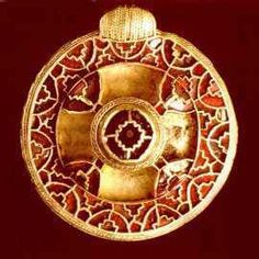 Anglo-Saxon bracteate from end of the 7th century or the beginning of the 8th century AD, made of gold and found in Canterbury, England.