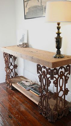 doormandesigns.com Console Table Made From Distressed Wood and Wrought Iron