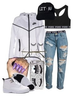 lit asf. by conceitedbrat ❤ liked on Polyvore featuring NIKE, OneTeaspoon, Victorias Secret and Chiara Ferragni