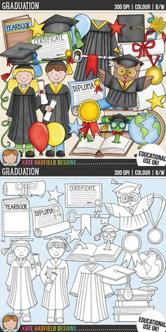 Cute graduation clip art for teachers! | Contains coloured clipart and black and white outlines at 300 dpi for highest quality printing for your resources and projects! | Hand-drawn clip art by Kate Hadfield Designs at Teachers Pay Teachers