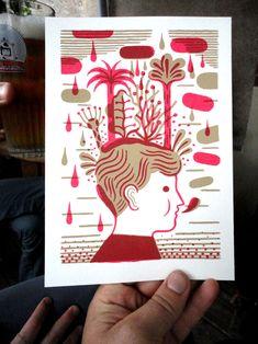 serigraphie offerte aux premières commandes sur le shop, tous les 3 mois, une nouvelle illustration Japanese Illustration, Art Et Illustration, Illustrations, Laurent Moreau, Le Shop, Book Design, Printmaking, Graphic Art, Screen Printing