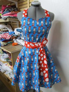 Cat in the Hat Vintage Apron