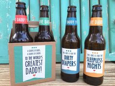 Baby Gifts For Dad, First Time Dad Gifts, 1st Fathers Day Gifts, New Daddy Gifts, Gifts For New Dads, Fathers Day Crafts, Father's Day Gifts, Diy Gifts, Beer Gifts