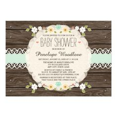 MINT RUSTIC FLORAL BOHO BABY SHOWER INVITATIONS INVITATION