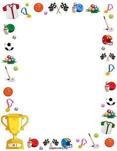 Free sports border templates including printable border paper and clip art versions. Vector images are also available. Boarder Designs, Page Borders Design, Paper Journal, Journal Cards, Printable Border, Printable Labels, Diy And Crafts, Crafts For Kids, Boarders And Frames