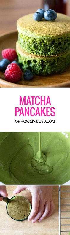 Japanese-style Matcha (Green Tea) Pancakes recipe with a crispy top and a warm, soft cake-like inside. Perfectly green, fluffy, and delicious. Green Tea Recipes, Sweet Recipes, Breakfast And Brunch, Asian Desserts, Matcha Green Tea, Love Food, The Best, Food To Make, Dessert Recipes
