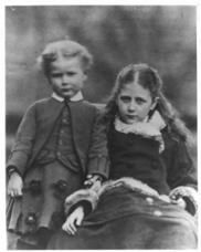 Beatrix Potter Beatrix with her brother, Bertram. 'My brother and I were born in London because my father was a lawyer there. Beatrix Potter, Vintage Christmas Photos, Vintage Photos, Vintage Holiday, Vintage Photographs, Vintage Cards, Wolf, Peter Rabbit And Friends, Cumbria